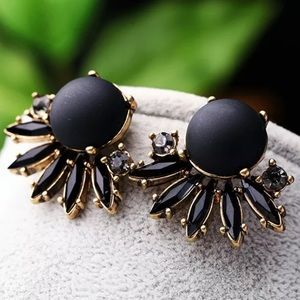 Crystal Gemstone Black Gold Glam Earrings!